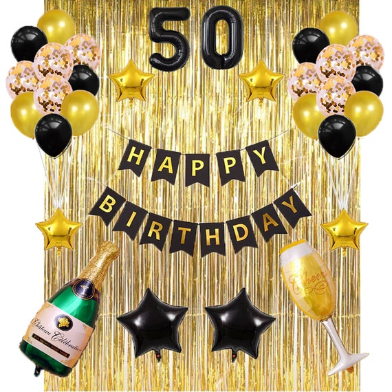 Black and Gold Happy Birthday Foil Balloon Birthday Party Decorations