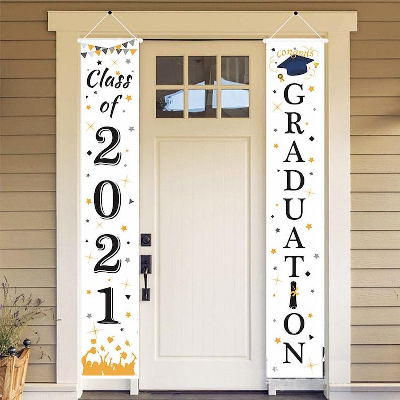 Class of 2021 /& Congrats Graduation Hanging Banner Set For OutdoorIndoor Home Front Door Wall Graduation Party Graduation Porch Sign