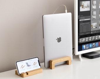 Vertical laptop stand. Monitor stand. Laptop wood desk stand. Macbook stand. Notebook riser. MacBook Pro station. Laptop riser wood holder.