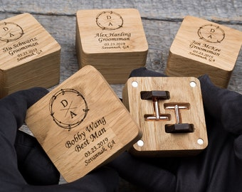 Wood cuff links. Custom personalized cufflinks for groom. Unique wooden box best wedding gift idea. Groomsmen, father of groom gift.