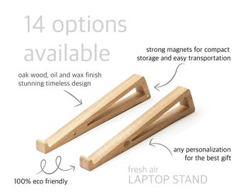 Portable laptop stand for desk. Macbook stand for eco friendly useful Christmas gift.