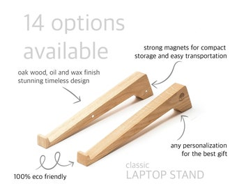 Oak wood laptop stand with any personalization for the best unique Christmas present.