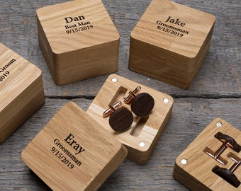 Personalized Wood Cufflinks for Groom or Groomsmen Gifts.