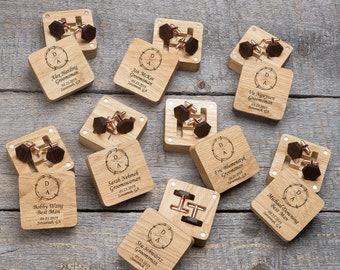 Personalized unique cuff links for groom in wooden box for best wedding gift.