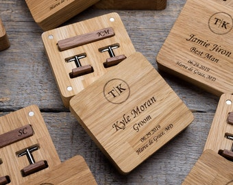 Wood cuff links and tie bar set for groomsmen gifts, boyfriend gift. Best for Christmas gift.
