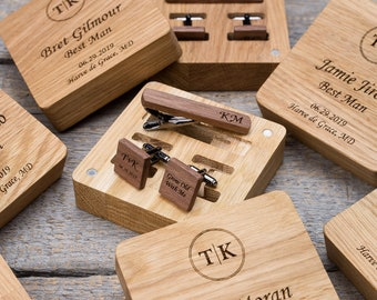 Wood cuff links and tie bar set for groomsmen gifts. More 50 combinations of wood and shape.