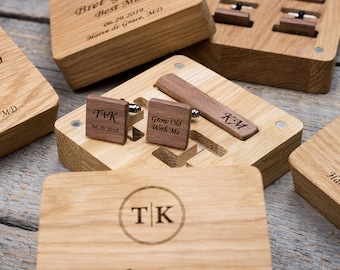Wood cuff links and tie clip set for groomsmen gifts. Custom personalized sets for groom. Unique wooden box best wedding gift idea.