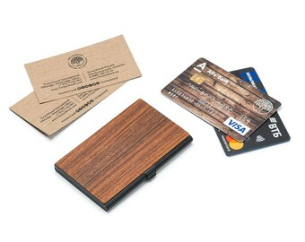Wood wallet, wooden wallet, credit / business card holder, personalized mens wallet. Christmas gift. Groomsmen gift.