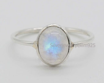 Rhodium finished Oval Genuine and Natural Rainbow MOONSTONE Ring in 925 STERLING SILVER Celtic