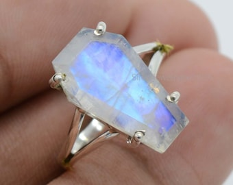 Rainbow Moonstone Coffin Ring | 925 Sterling Silver Ring | 10x17 mm Rainbow Moonstone Ring | June Birthstone Ring | Coffin Gemstone Ring