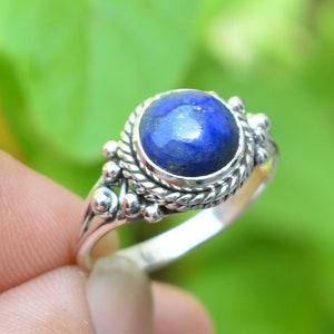 Handmade Ring Lapis Lazuli Coffin Ring Boho Ring Coffin Lapis Ring 10x17 mm Coffin Blue Lapis Ring Statement Ring 925 Silver Ring