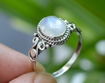 Rainbow Moonstone ring handmade sterling silver moonstone ring size 7.5 ladies.ring gift for her women unique tear drop moonstone ring 925