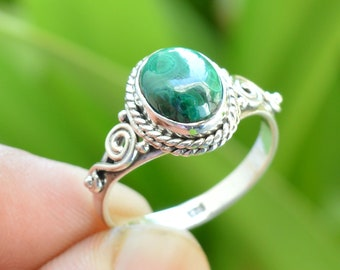 Boho Ring Womens Jewelry Gemstone Ring Silver Ring Malachite Ring In 925 Silver Ring Gift Affordable Ring Dainty Ring Gemstone Ring