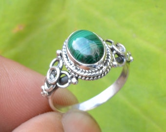 Malachite Jewelry,Wedding Ring Womens Ring Artisan Malachite Silver Ring Gift for her,Statement Ring,boho ring,dainty ring,gift,925silver