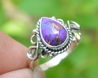 Turquoise ring,Turquoise jewelry,Purple stone ring,Gemstone ring,Silver rings,,Girlfriend ring,Gift ring,Gift for her
