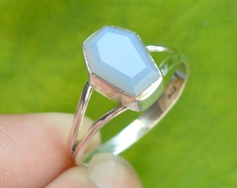 Grey Chalcedony ring solid sterling silver ring gemstone ring A582 Grey Chalcedony Faceted ring handmade ring
