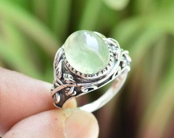 Natural Prehnite Ring 925 Sterling Silver Ring Free Shipping Prehnite Gemstone American Seller RJ-734