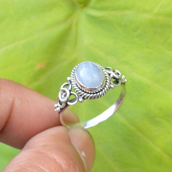 Sterling Silver Rings Handmade Silver Ring 7x9mm Oval Blue Lace Agate Ring Promise Ring Gift for her Natural Blue Lace Agate Ring