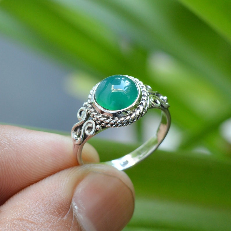 Women Rings Gemstone Jewelry Green Onyx Gemstone Ring 925 Silver Rings 7mm Round Onyx Ring Natural Green Onyx Ring Oxidized Ring