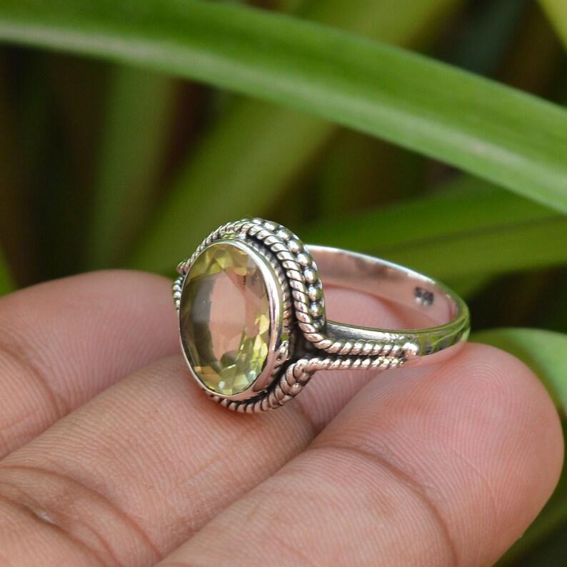 Lemon Quartz Ring Sterling Silver Lemon Quartz Ring 10x12 mm Oval Quartz Ring Oxidized Silver Ring Women Rings Designer Rings