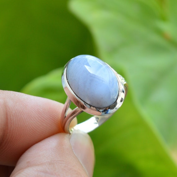 Natural Blue Lace Agate Ring-Sterling Silver Ring-Handmade Designer Ring-Unisex Ring-13x18 Oval Gemstone Silver Ring-Promise Ring