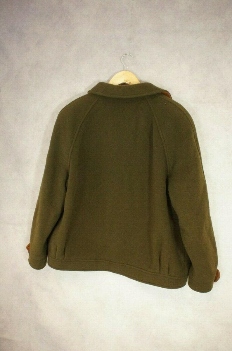 Peter James Size L Wool Cashmere Blend Green Brown Coat Jacket Vintage
