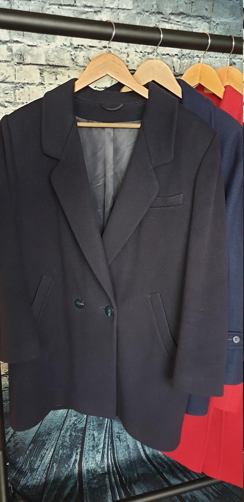 50-50 Cashmere and New Wool Weatherproof Jacket Vintage 80\u2019s Marks /& Spencer \u201cSt. Michael\u201d UK Size 14 Dark Navy Blue.