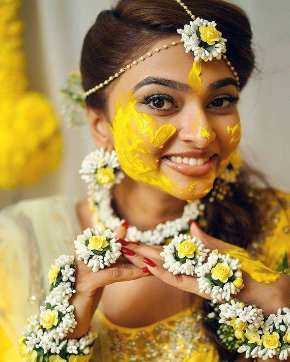 Yellow White Golden Flower Jewelry For Wedding Haldi Mehandi Etsy
