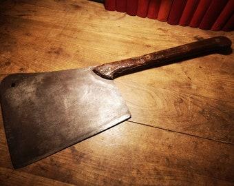 """HUGE Antique Butcher's Slaughterhouse Meat Cleaver, Hog Splitter 27"""""""