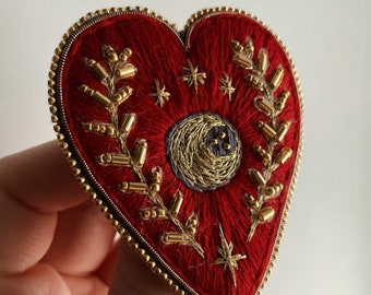 Heart brooch Embroidered brooch Gothic heart brooch Crescent moon brooch Celestial brooch Beaded heart brooch Witch jewelry