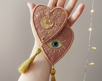 Embroidered heart ornament Embroidered witch wall decor Beaded wall hanging Witch decor home Witch altar Witchy gift MADE TO ORDER