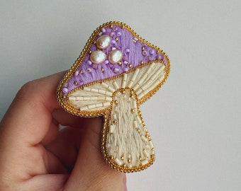 Embroidered mushroom brooch Beaded amanita brooch Toadstool Agaric brooch Mori girl  Witch jewelry MADE TO ORDER