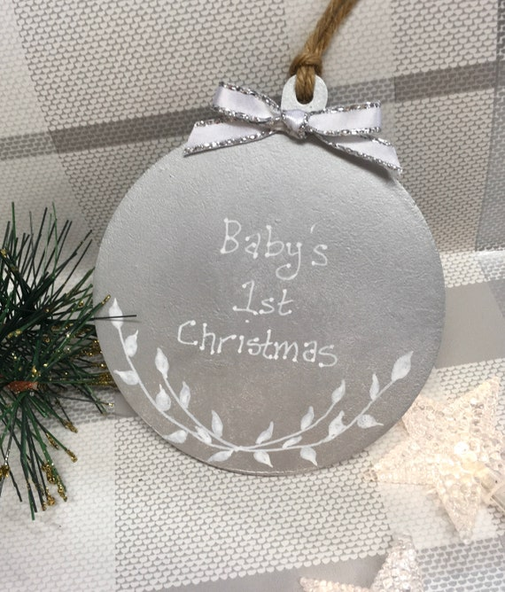 Personalised Baby/'s First 1st Christmas tree decoration 10cm wooden star