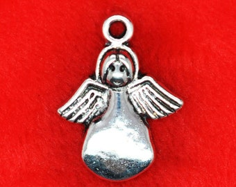 6 Angel charms antique silver tone AW119