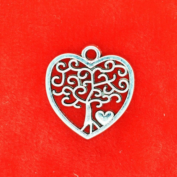 50x Retro Alloy Tree of Life Charms Pendents For Jewelry Making Bracelet DIY