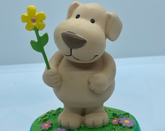 Russ Berrie Dog with Flower Figurine