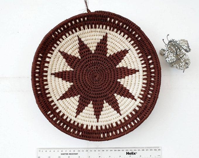 Woven brown sisal basket/african basket/Wall art basket/handmade basket