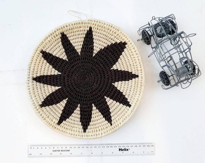 Woven dark brown sisal basket/african basket/Wall art basket/handmade basket
