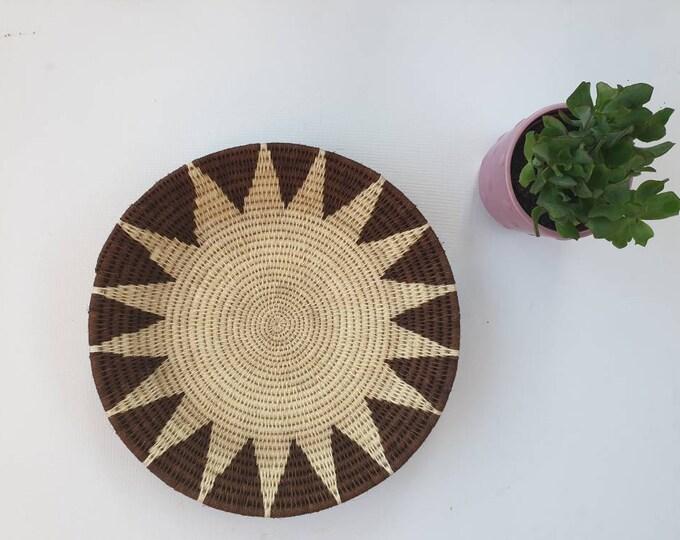 Hand woven flat sisal basket/african basket/Wall art basket/handmade basket