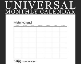 """Blank """"Make My Day!"""" Monthly Calendar page 