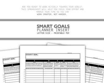 SMART GOALS Planner Insert - productivity trackers and checklists, organize, analyze, accomplish your dreams - for desk, classroom + school