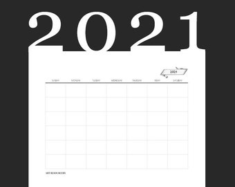 Blank DECO Monthly Calendar page 2021 | Simple template | vintage ribbon | horizontal planner insert page minimalist | letter 8.5 x 11 PDF