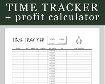 Freelance Time Tracker - Printable + BONUS link to get the Google Drive Spreadsheet version that calculates time and earnings for you