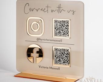 Multi QR Code Instagram Facebook Business Social Media Sign   Salon Sign   Beauty Sign   Hairdressers Beautician Sign