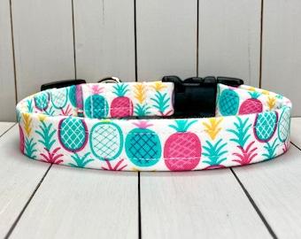 "3/4"" Medium Dog Collar, Handmade, Fabric Covered Nylon Webbing, Ready to Ship ~ Bright Pineapples"