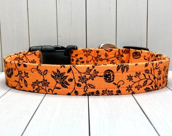 """1"""" Large Halloween Dog Collar, Handmade, Fabric Covered Nylon Webbing, Ready to Ship ~ Pumpkin Patch Floral"""