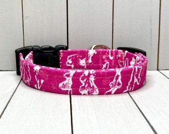 "5/8"" Small Dog Collar, Handmade, Fabric Covered Nylon Webbing, Ready to Ship ~ Fuchsia Botanical"