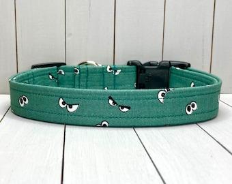 "3/4"" Medium Halloween Dog Collar, Handmade, Fabric Covered Nylon Webbing, Ready to Ship ~ Spooky Ghost Eyes"