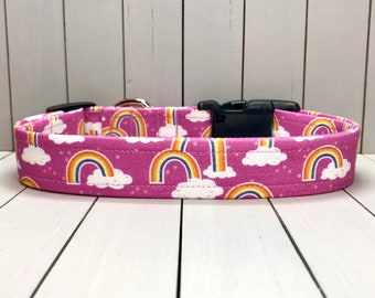 "1"" Large Dog Collar, Handmade, Fabric Covered Nylon Webbing, Ready to Ship ~ Orchid Rainbows"