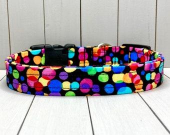 "3/4"" Medium Fall Dog Collar, Handmade, Fabric Covered Nylon Webbing, Ready to Ship ~ Black Celebration Dots"